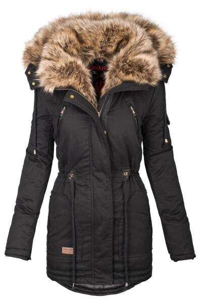 Navahoo Daria warme Damen Parka Winterjacke mit Kunstfell Kragen Schwarz Größe M - Gr. 38