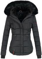 Marikoo Lotus warme Damen Winterjacke gesteppt mit Kunstfell Schwarz Größe XXL - Gr. 44