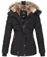 Marikoo Nekoo warm gefütterte Damen Winterjacke mit Kunstfell Schwarz Größe XL - Gr. 42