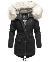 Navahoo Honigfee warme Damen Winterjacke mit Kapuze und Kunstfell Schwarz Größe S - Gr. 36