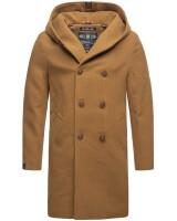 Marikoo Irukoo Herren Langer Winter Mantel mit Kapuze Camel Größe XL - Gr. XL