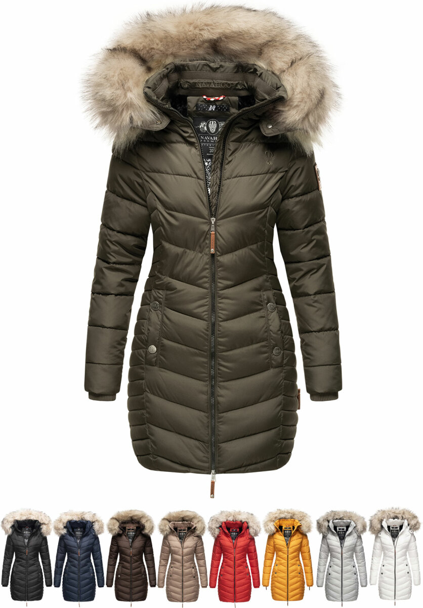 Navahoo Ladies Winter Jacket short Coat Quilted Parka Faux Fur Hood Nimalaa