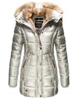 Marikoo warme Damen Steppmantel Winterjacke mit Kapuze Silber Größe M - Gr. 38